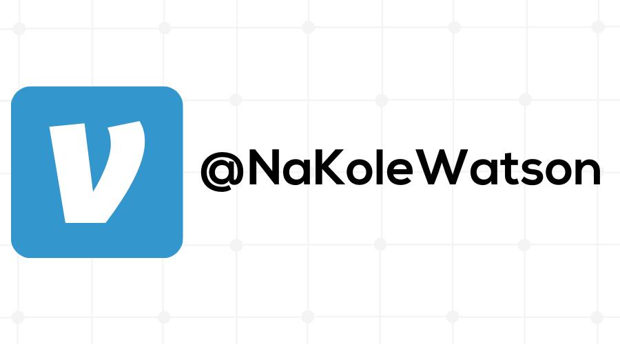 Venmo logo with Venmo name @NaKoleWatson